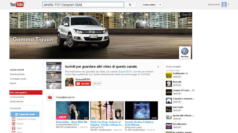 Youtube ricerca con Keyword