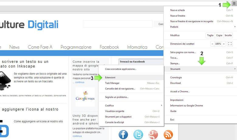 Come cancellare estensioni Google Chrome