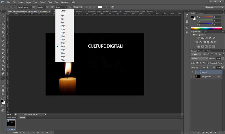 Come inserire del testo in Photoshop