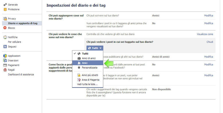 Nascondere Foto Taggati Facebook Step 4