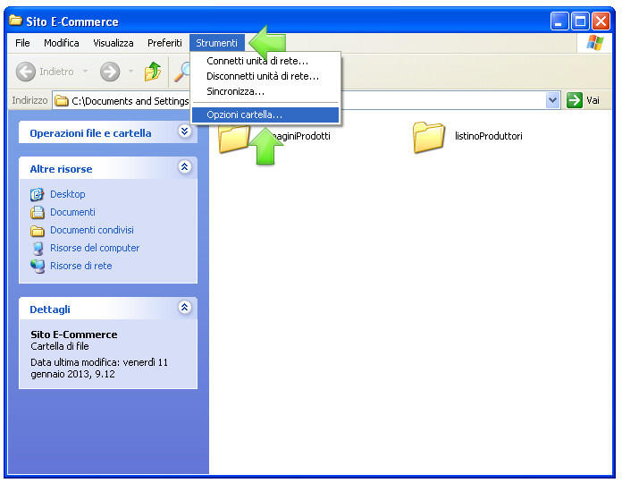 Visualizzare le estensioni dei file in Windows XP