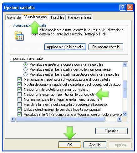 Visualizzare le estensioni dei file in Windows XP